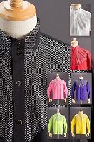 ラメ 3ボタン スタンドカラーシャツ