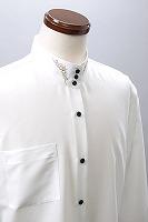 刺繍襟 スタンドカラー3ボタン