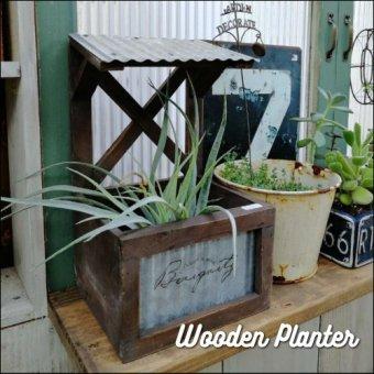 _波トタン屋根がかわいい木製プランター 小物入れにも。