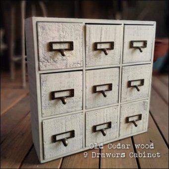 -在庫限り アンティーク古材の9引き出しキャビネット シャビーホワイト