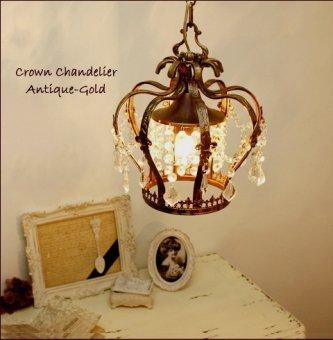 ;9月納品分予約-クリスタルガラスのプチシャンデリア-クラウン(アンティークゴールド色)