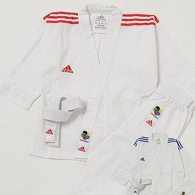 アディダス adidas 空手衣(WKF公認) エボリューション 3本ライン (上下セット、白帯付)PP