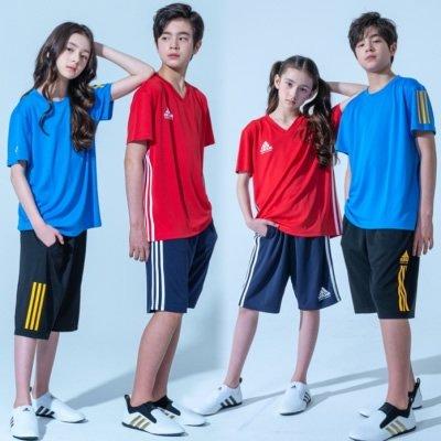 アディダス adidas ストレッチ素材 ハーフパンツ&Tシャツセット(子供〜大人用)