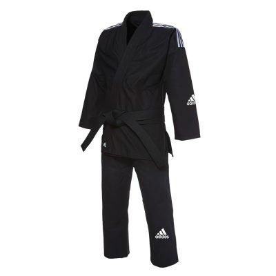 アディダス adidas 柔術着 レスポンセ2.0  ブラック、ブルー 3本ライン  白帯付き