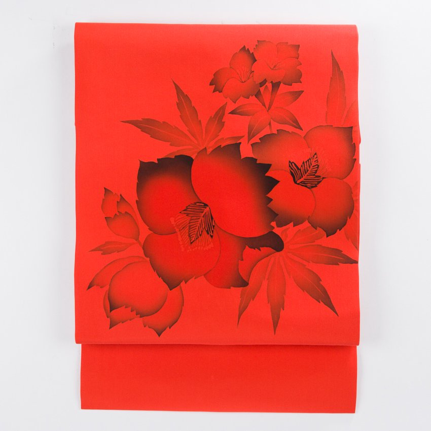 「柿色地 手描き 芙蓉の花」の商品画像