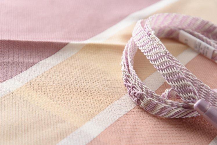 夏 帯揚げ帯締めセット 斜めラインのサムネイル画像