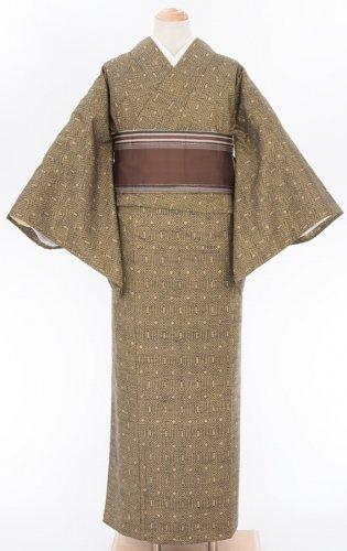 単衣 茶緑 亀甲 紬のサムネイル画像