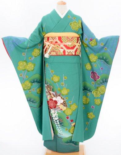 振袖 長襦袢セット グリーンの地に梅・藤・松のサムネイル画像