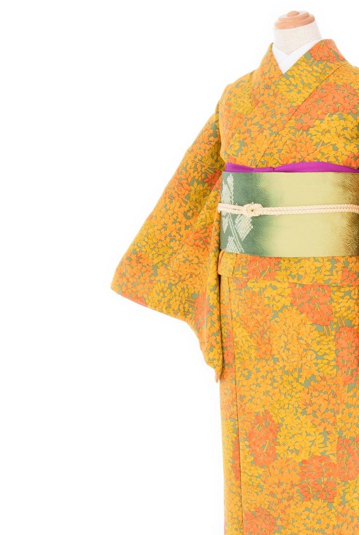 「2点セット*蜜柑色の葉の小紋 薔薇花絞りの名古屋帯」の商品画像