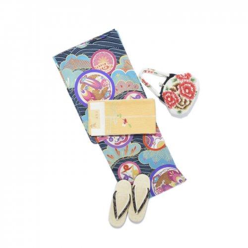 きもの道楽 セオα アンティーク調 丸紋 青のサムネイル画像