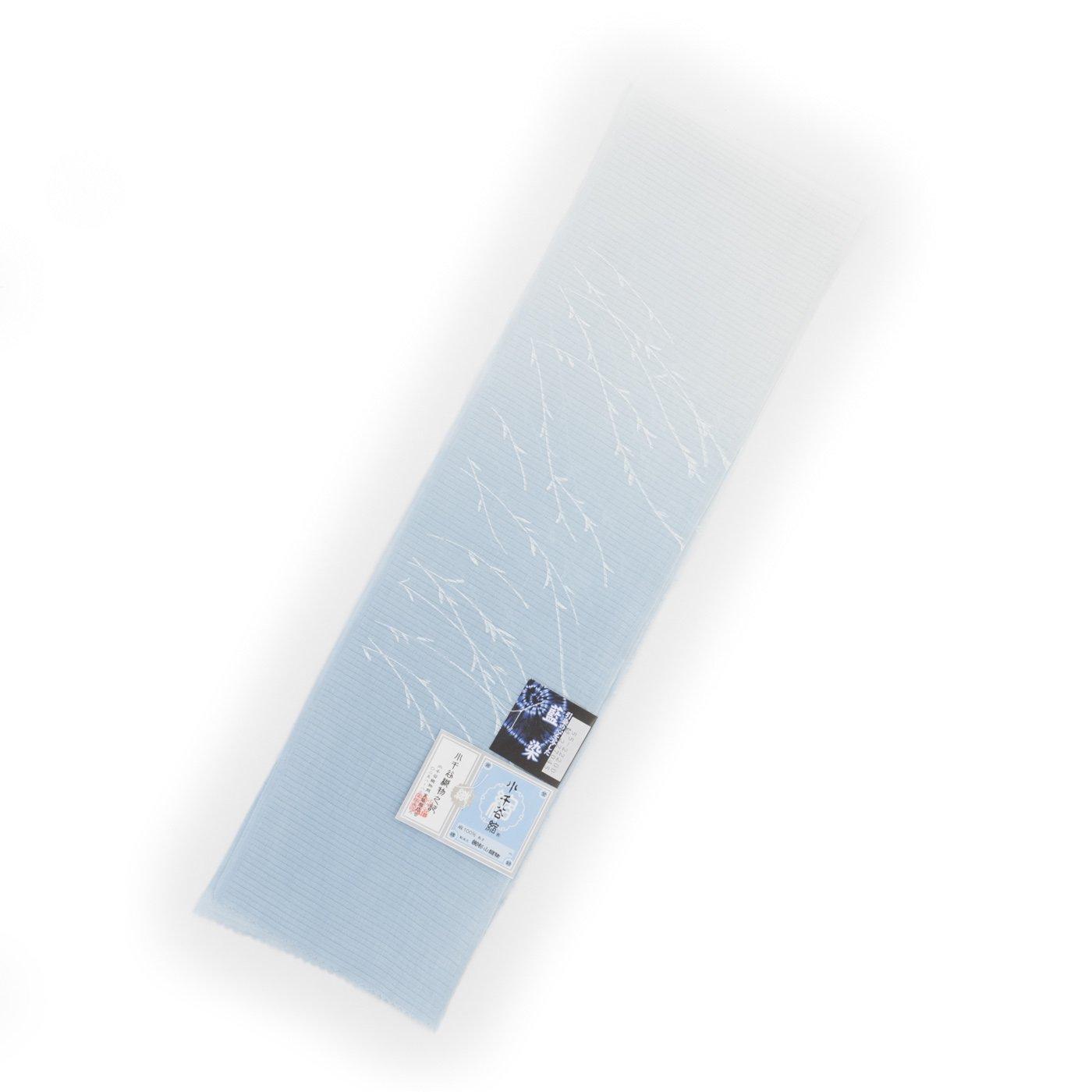 「小千谷縮 藍染本麻 絽半襟 白青」の商品画像