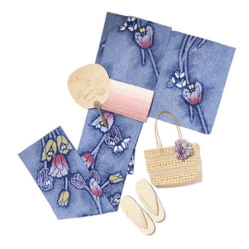 お仕立て上がり新品 有松絞り浴衣 チューリップと蝶々のサムネイル画像
