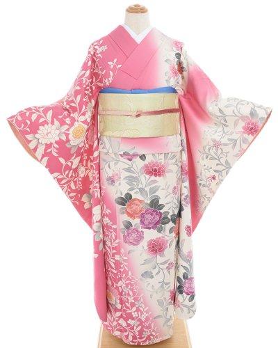 振袖 ピンク&白に薔薇のサムネイル画像