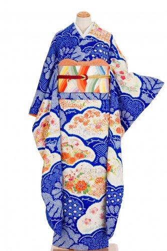 振袖 青絞り 松シルエットに花のサムネイル画像