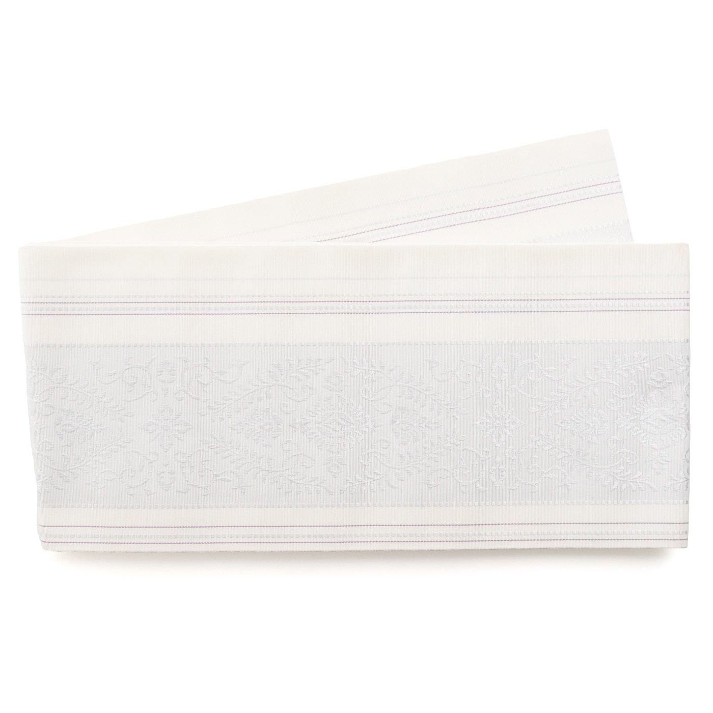 「森博多織 花紋 白」の商品画像