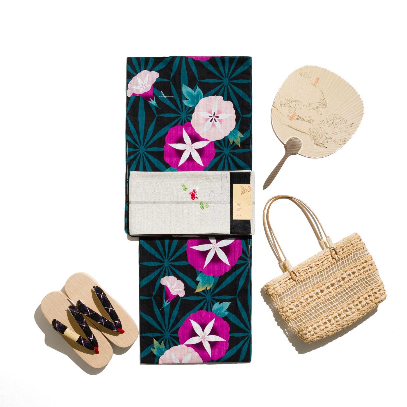 「新品浴衣 麻の葉と朝顔 ViVi」の商品画像
