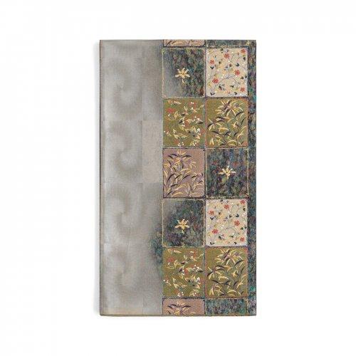 袋帯●銀市松に花絵札のサムネイル画像