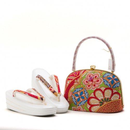 アウトレット 西陣織 振袖用草履バッグセット 赤 菊のサムネイル画像