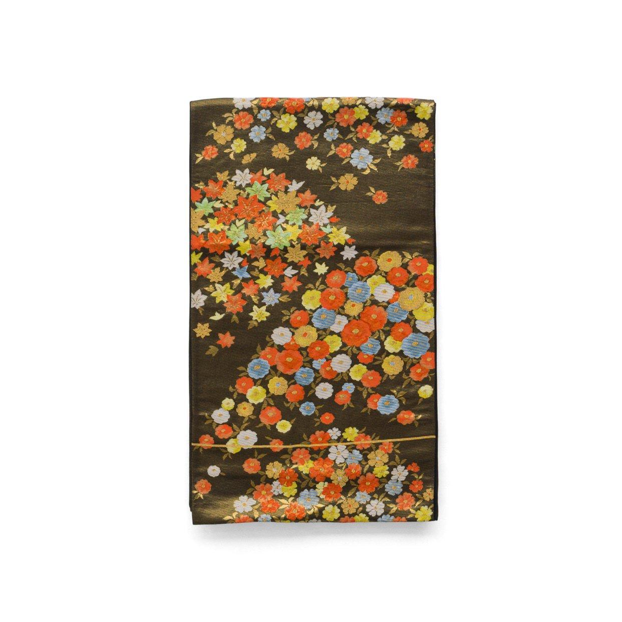 「袋帯●金黒地に小花」の商品画像