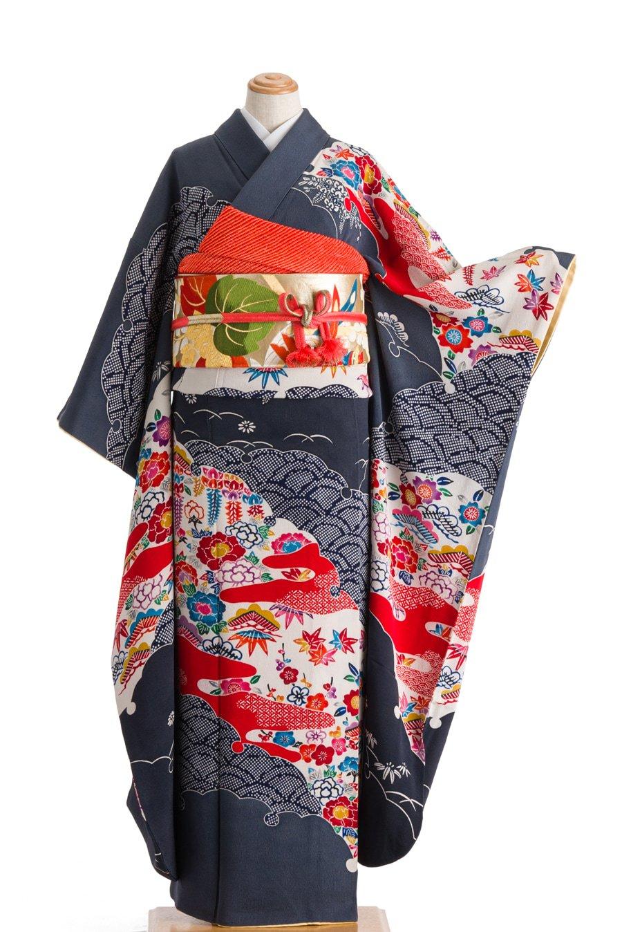「振袖 大雪輪に四季花 紅型」の商品画像
