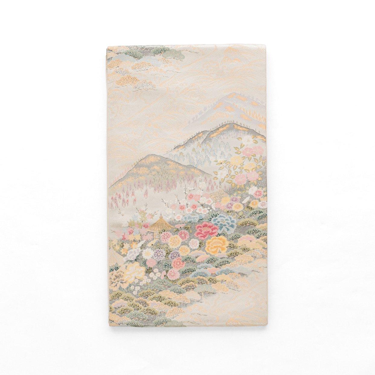 「袋帯●山裾の庵と花」の商品画像