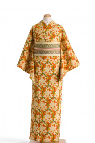単衣 紬 亀甲と花