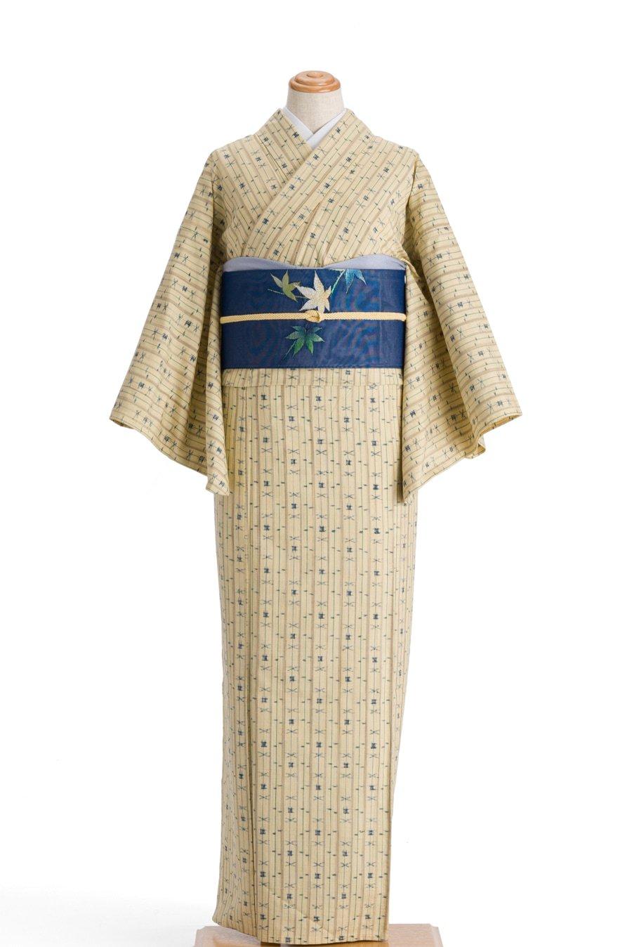 「単衣 紬 縞と絣柄」の商品画像
