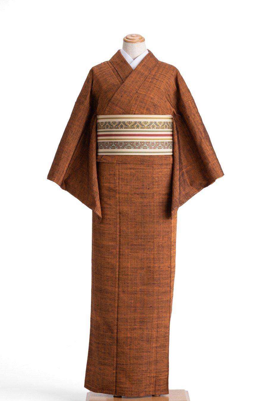 「単衣 紬 茶柿色」の商品画像