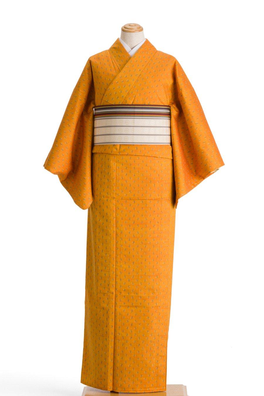 「単衣 紬 蜜柑色に井桁」の商品画像