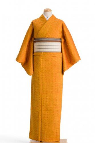 単衣 紬 蜜柑色に井桁のサムネイル画像
