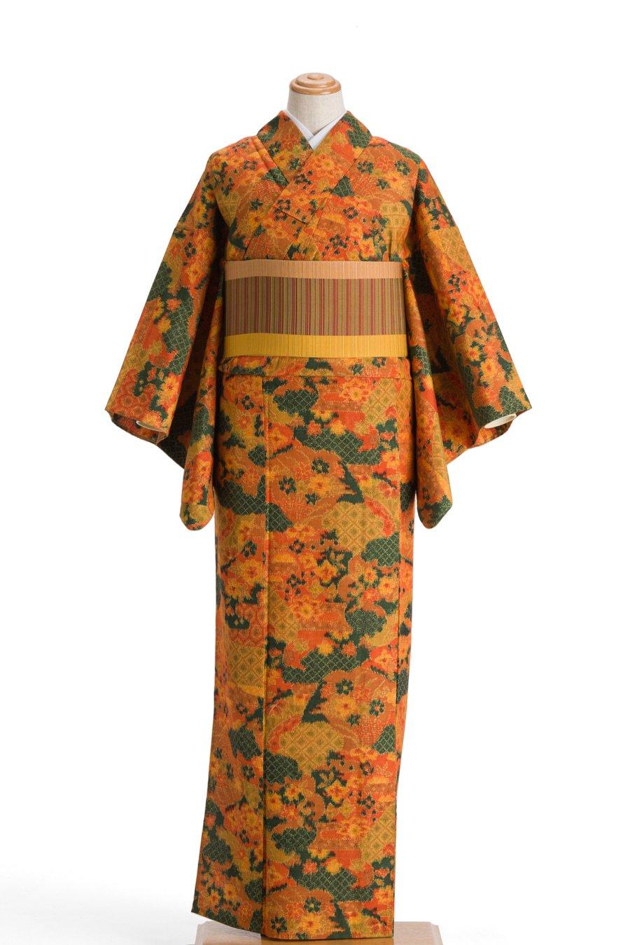 「単衣 紬 雲取りに花」の商品画像