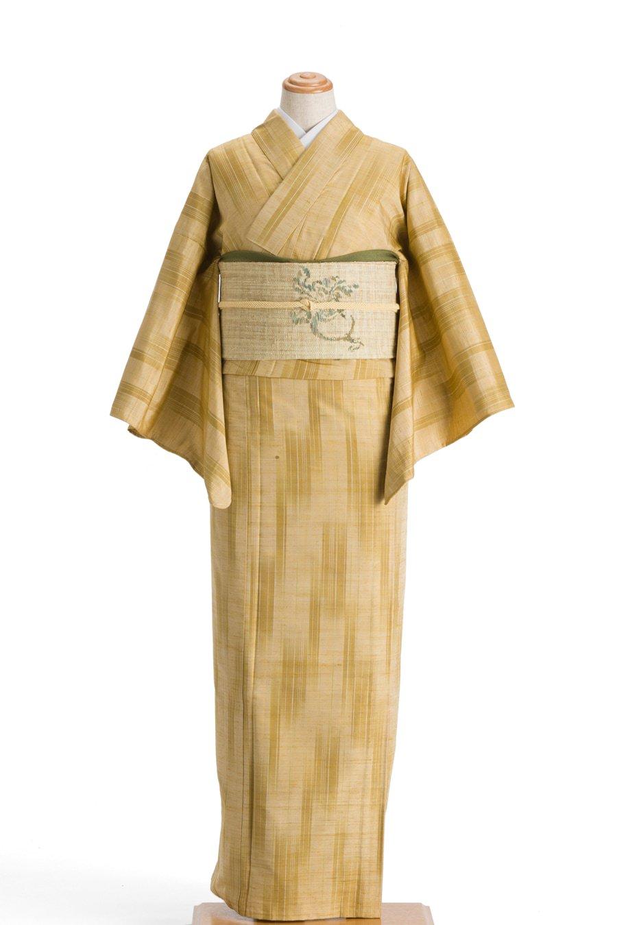 「単衣 紬 淡黄色に絣縞」の商品画像