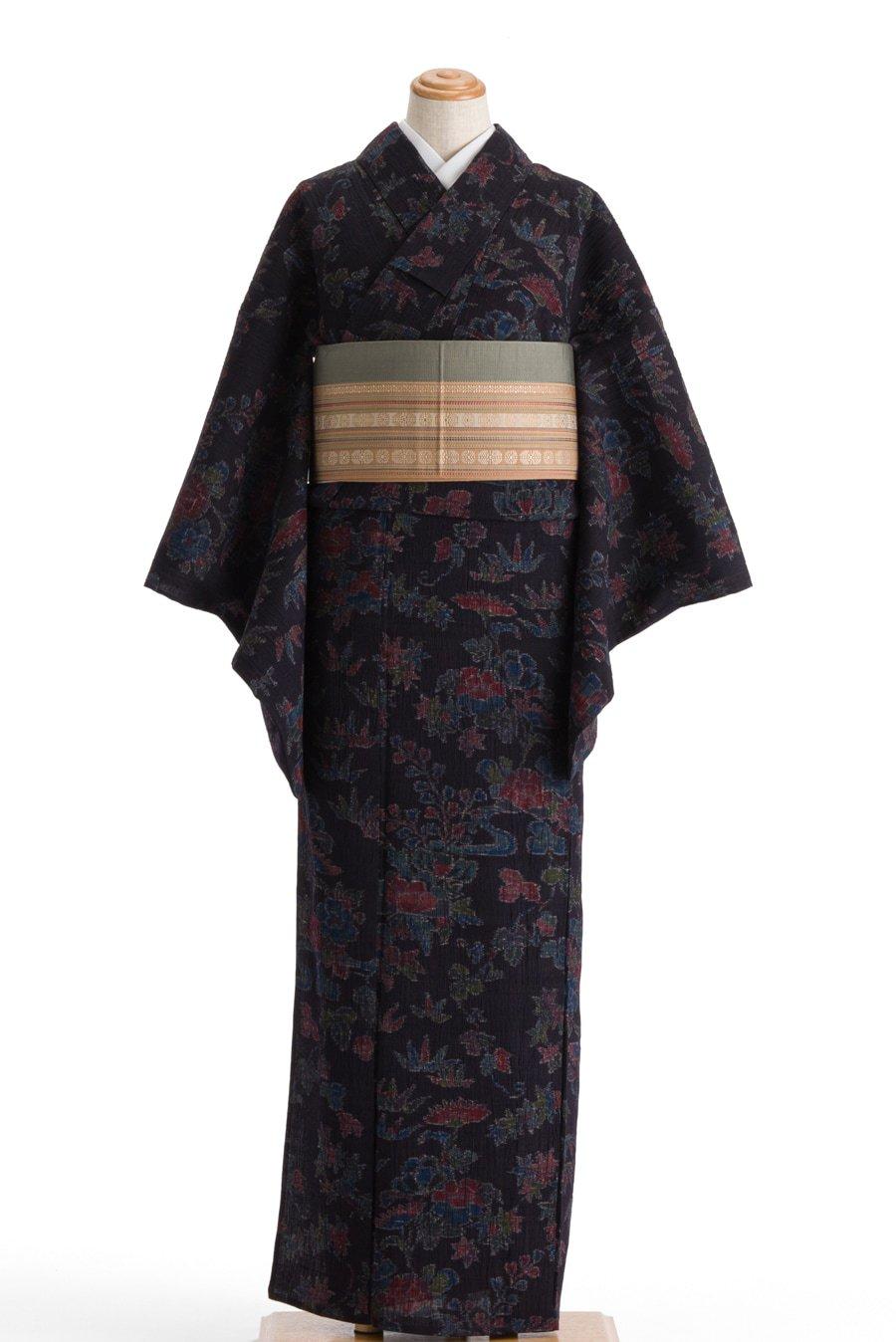 「単衣 紬 牡丹や笹など」の商品画像