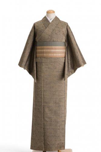 単衣 紬 利休色の地に網目模様のサムネイル画像