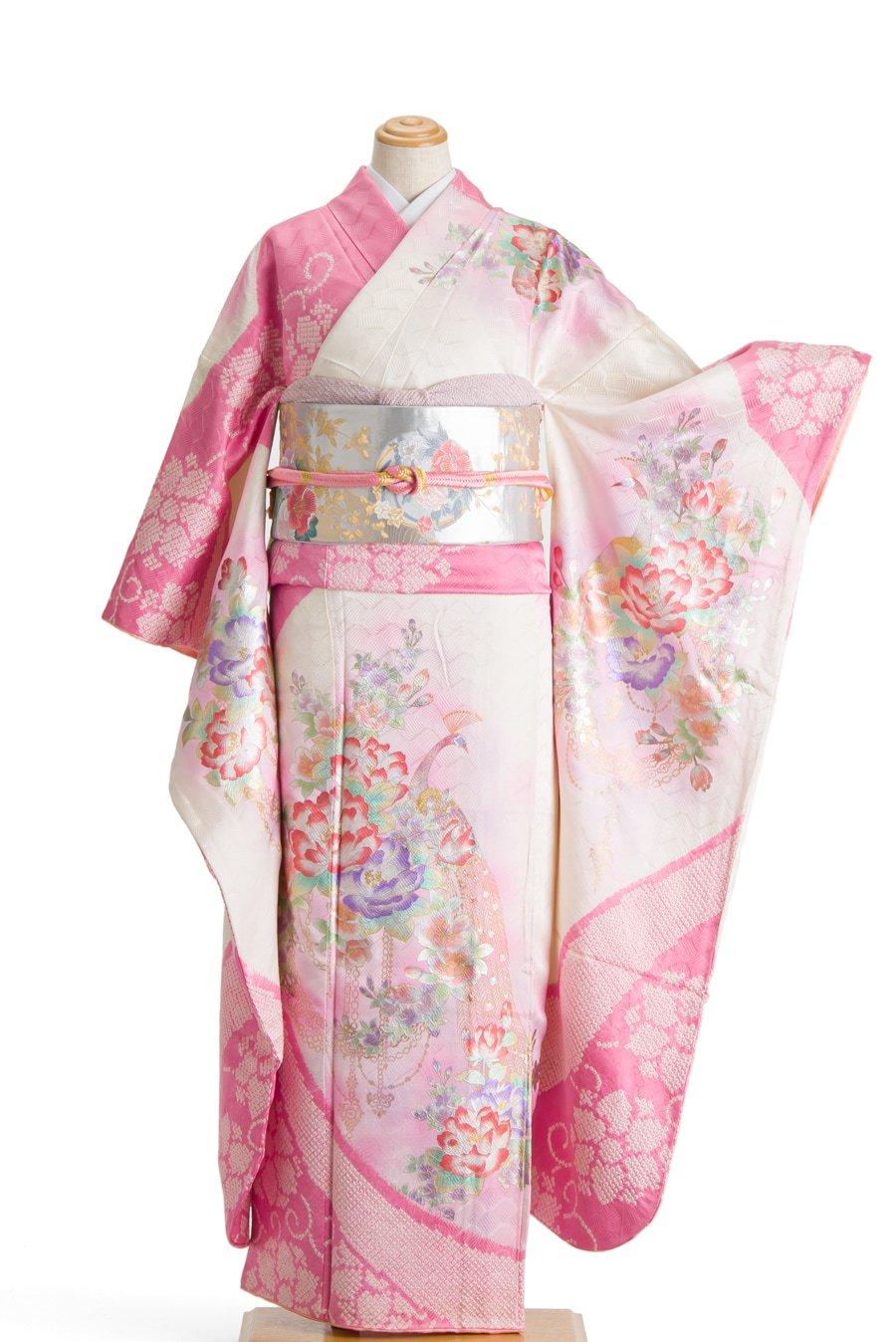「振袖 ピンクの絞りに孔雀と花」の商品画像
