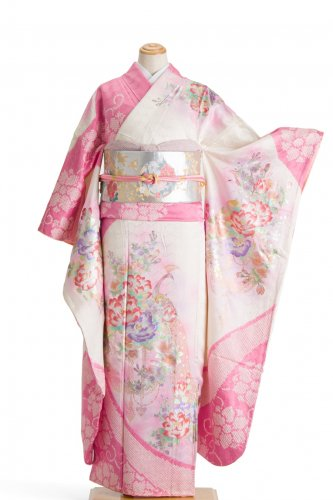 振袖 ピンクの絞りに孔雀と花のサムネイル画像