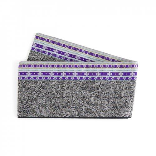 博多小袋帯 紫縞 花レース