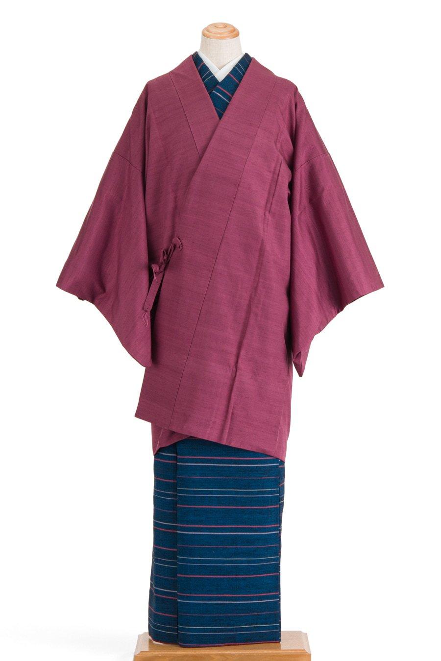 「道中着 無地紬 赤紫」の商品画像
