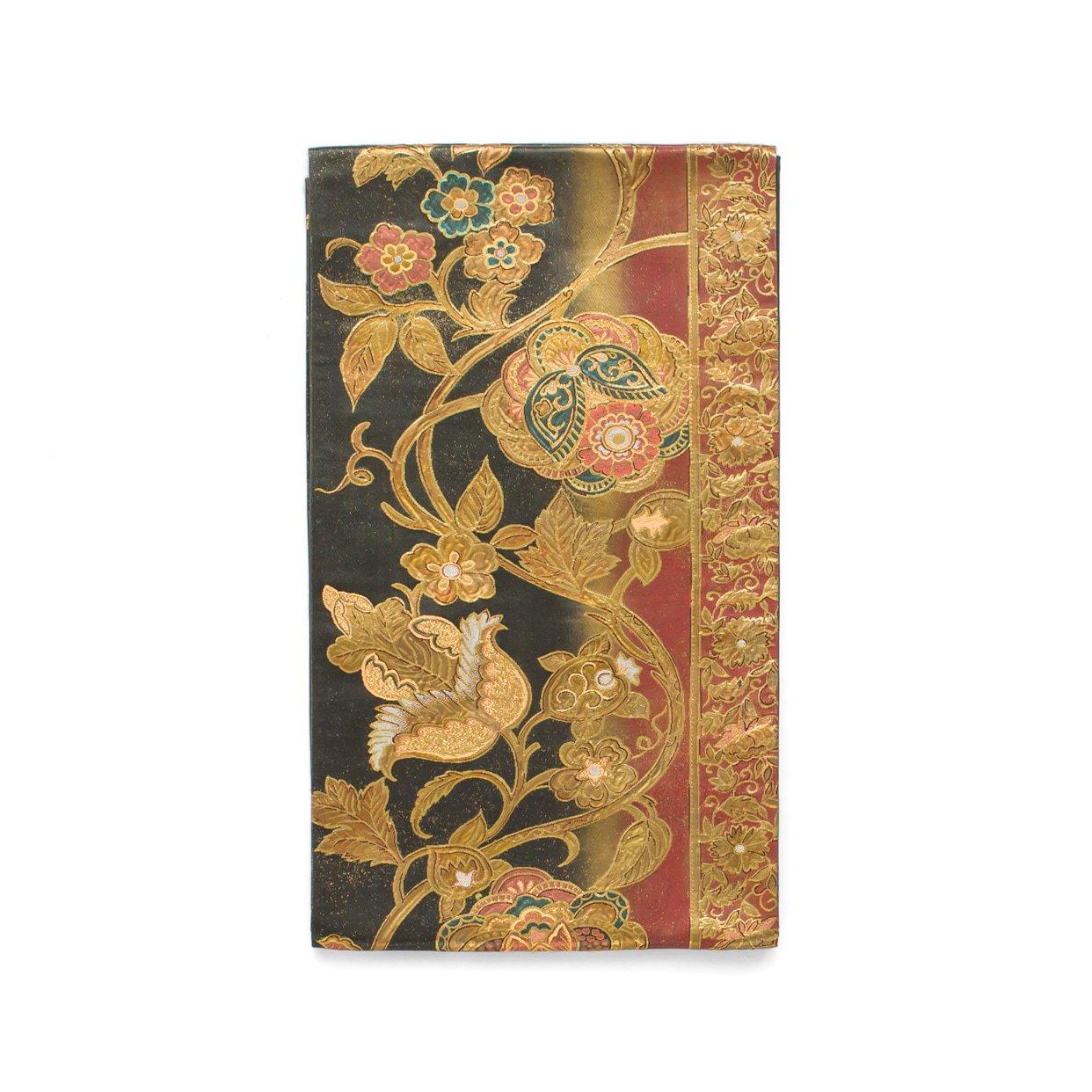 「袋帯●縦暈しに金唐花」の商品画像