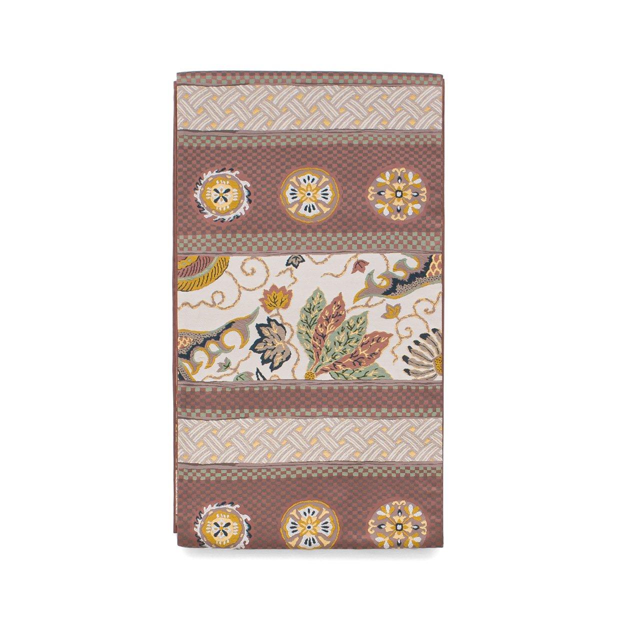 「洒落袋帯●市松に葉や紋章など」の商品画像