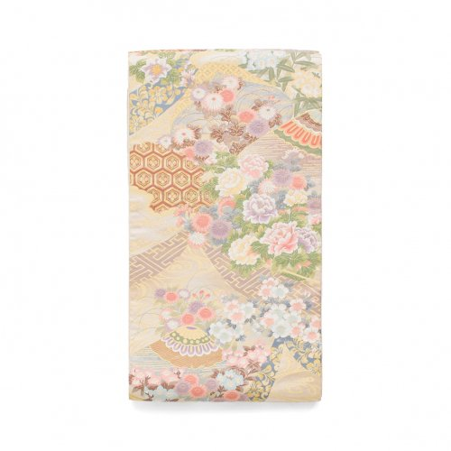 袋帯●ホワイトゴールド 牡丹や菊などのサムネイル画像