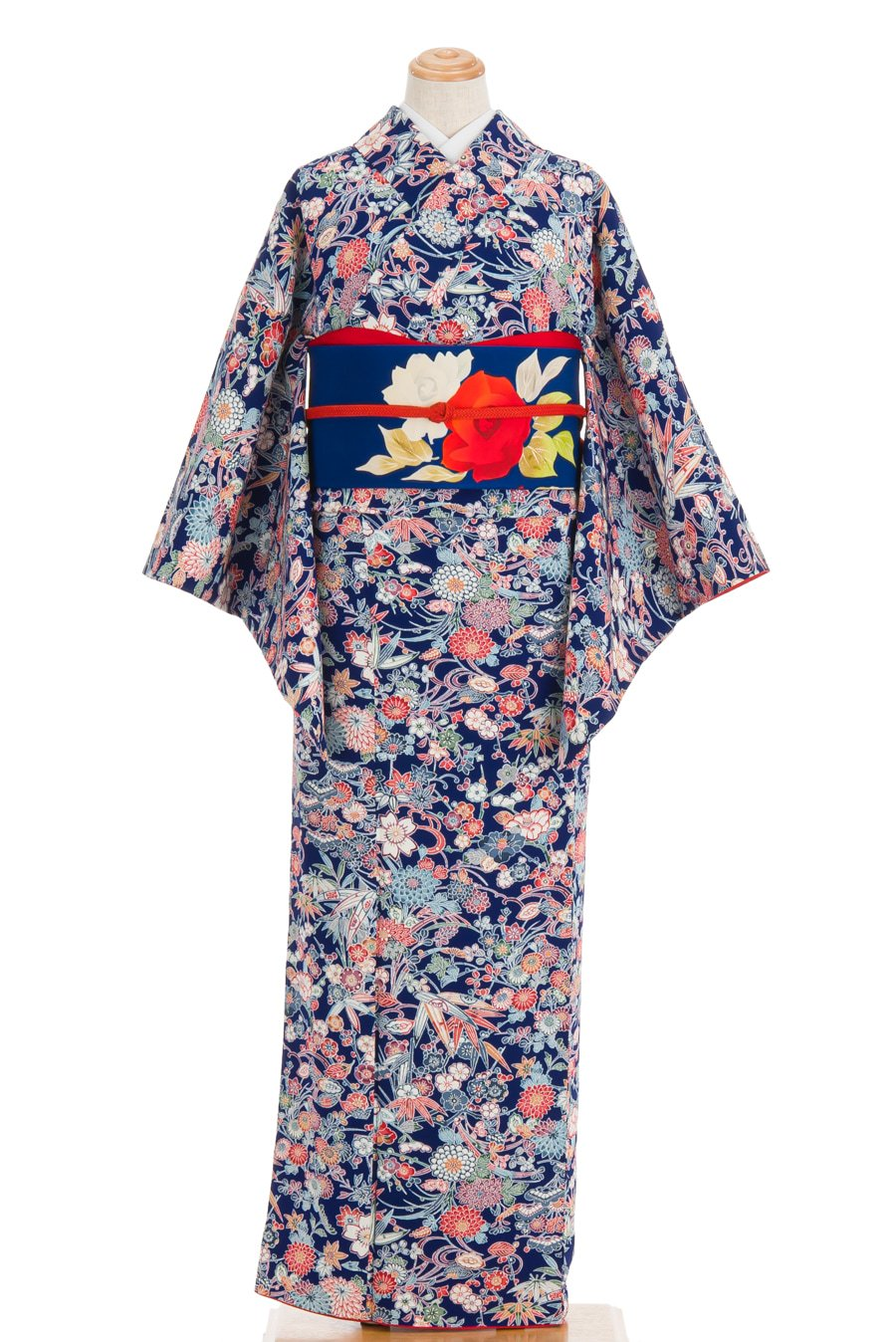 「紅型小紋 紺地 四季花」の商品画像