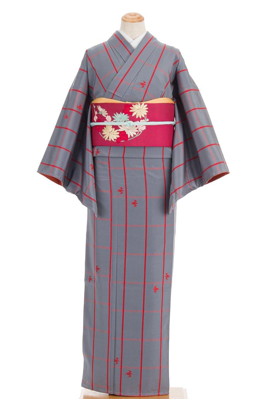 「紬 赤格子に絣の燕」の商品画像