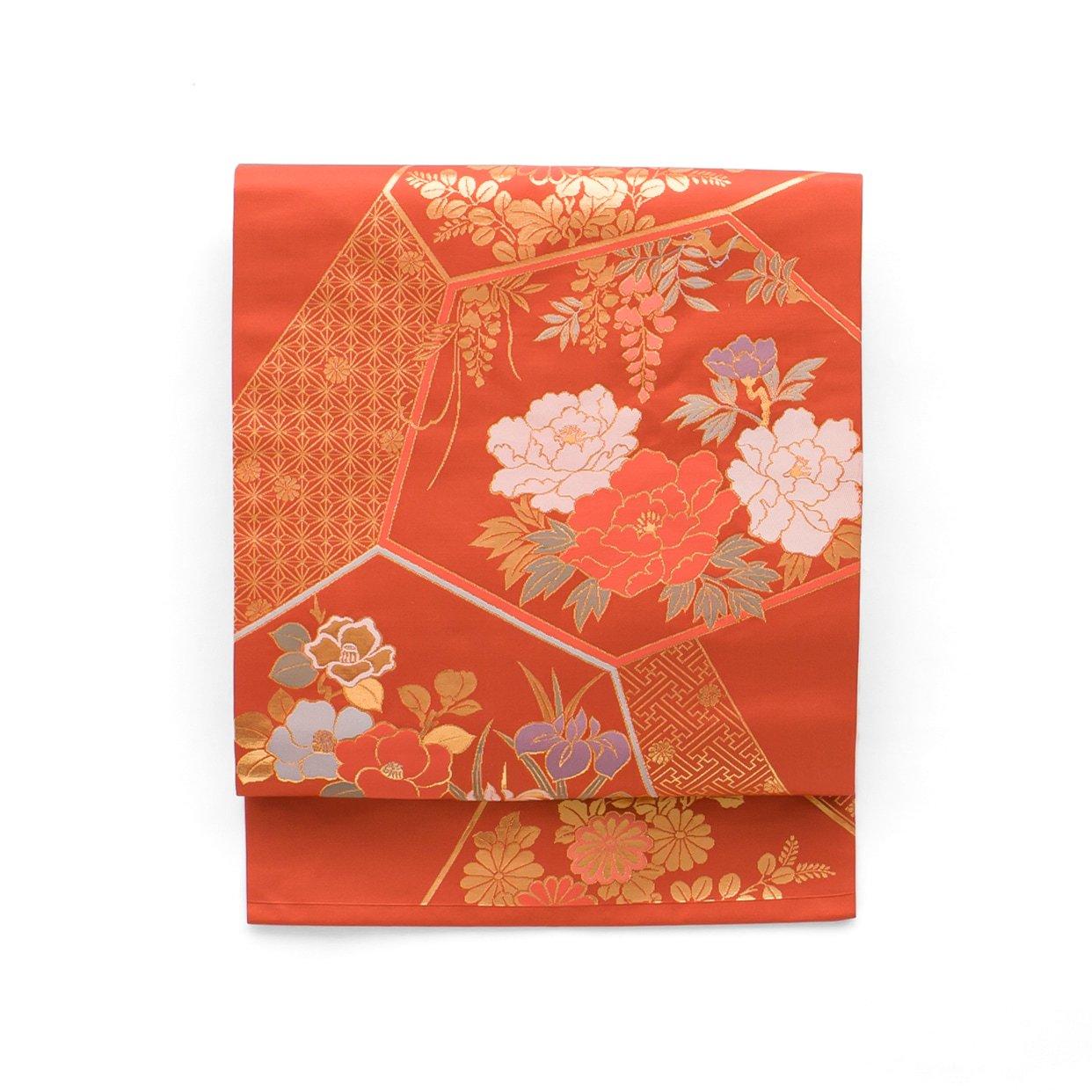「赤茶地 牡丹 藤 菖蒲 椿など」の商品画像