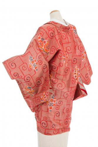 アンティークきもの  銘仙 菱に花のサムネイル画像