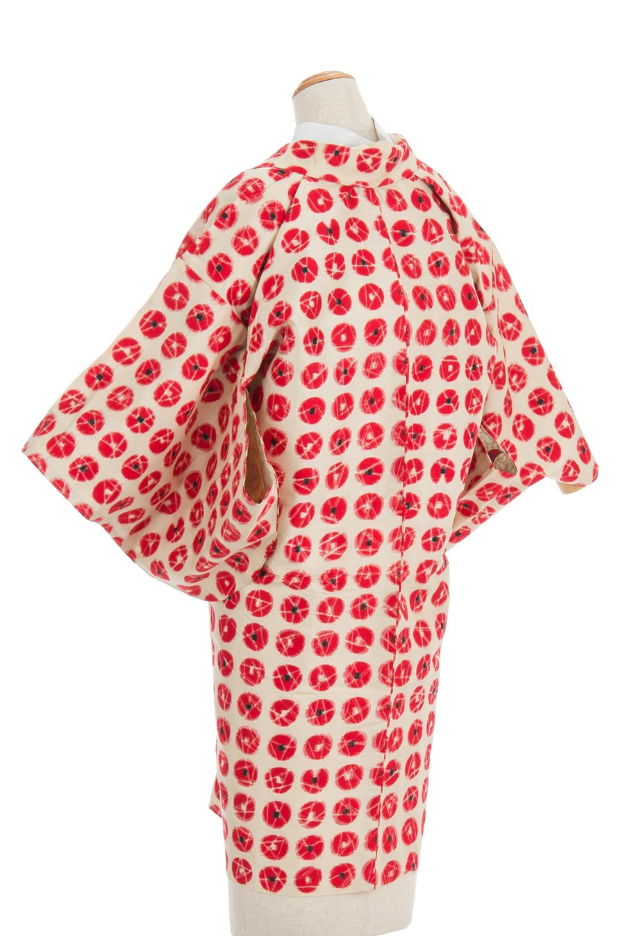 「アンティーク着物 銘仙 赤丸」の商品画像