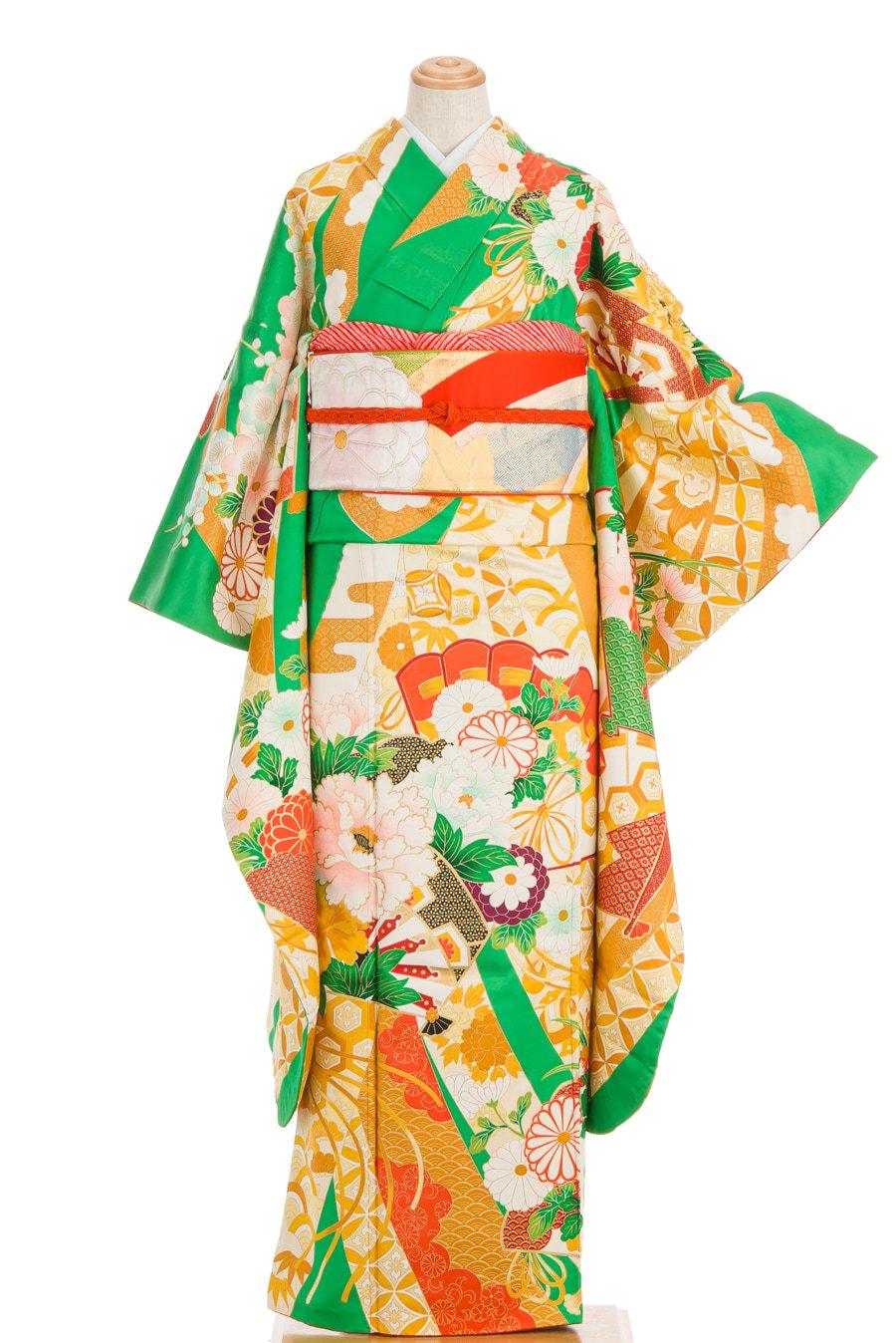 「振袖 花と檜扇 束ね熨斗など」の商品画像