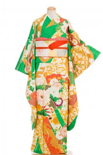 振袖 花と檜扇 束ね熨斗などのサムネイル画像