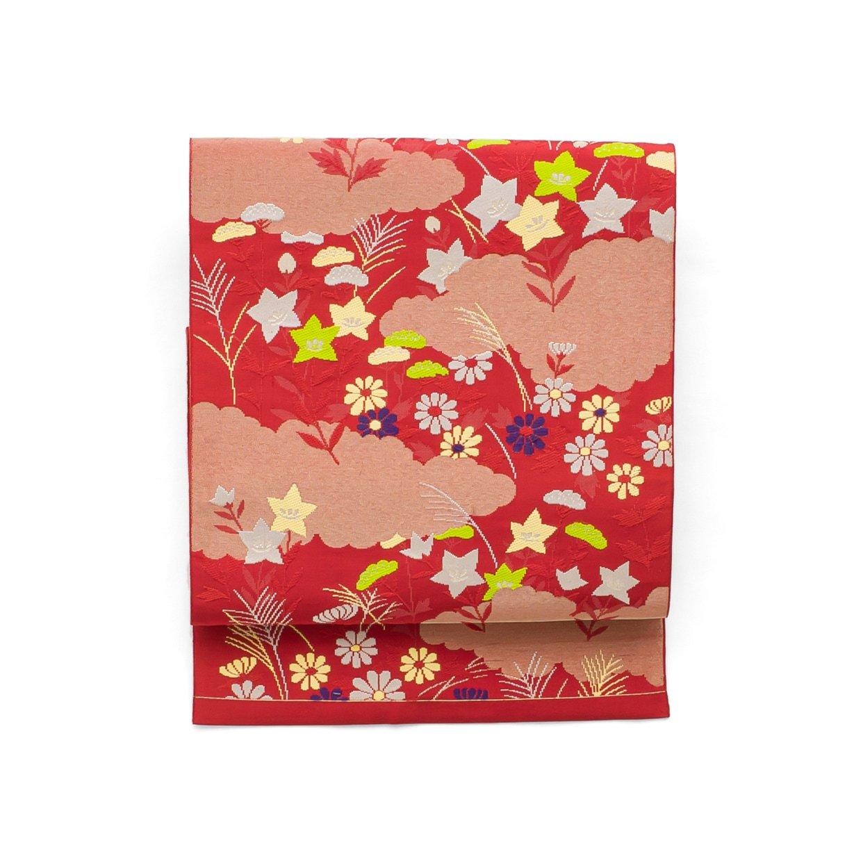 「八寸名古屋帯 雲取りに秋草模様」の商品画像