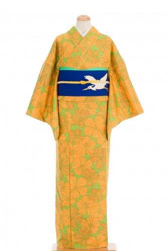 紬 黄緑地に大きな花のサムネイル画像